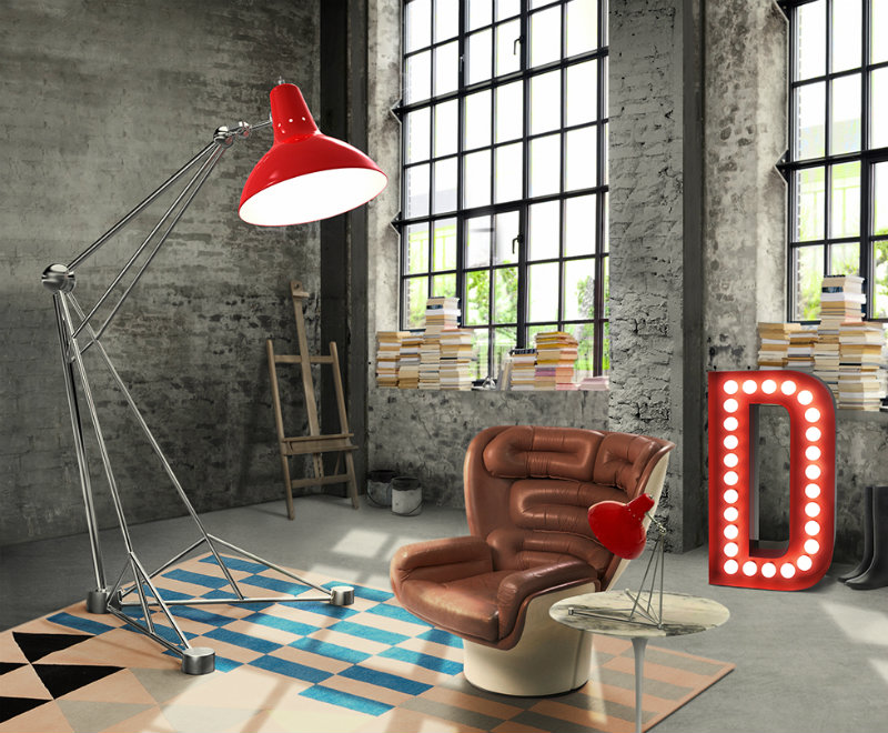 Diana XL Floor Lamp is a modern fresh classic with an industrial style.