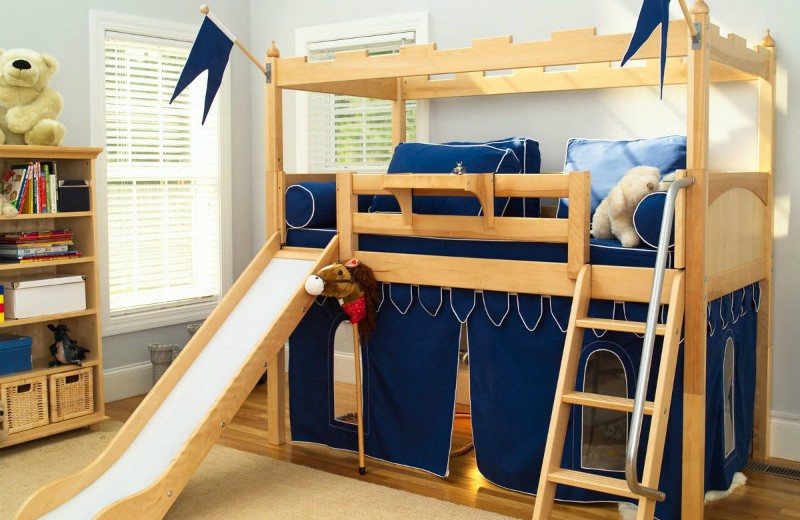 great-kids-loft-bed-idea-with-slide-and-ladder-feat-comfy-bedroom-rug-design-plus-pale-blue-wall-color