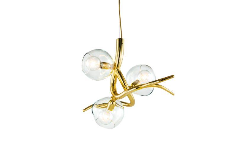 Decorex International Brand van Egmond Presents Two New Collections at Decorex International brandvanegmond Ersa collection chandelier ERSA3BR GLCLE brass high gloss finish white background 2