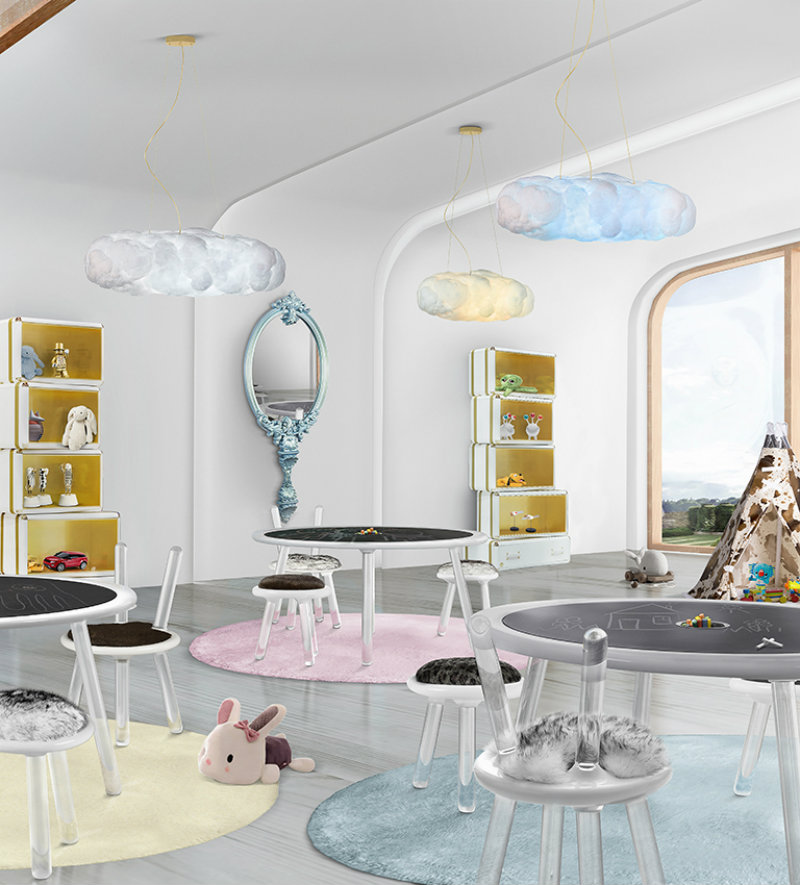 The Illusion Series brings a touch of magic to the children's playroom decor. This kids' furniture set includes a table, a stool and a chair, the perfect addition to every bedroom and playroom where kids can develop their skills and learn new things. The beautiful illusion is created by the use of the translucid acrylic that gives the feeling of suspension on the air. Besides being a place where kids can play and study, the surface of the table also allows kids to draw with chalk and have way more fun. It also features a pencil cup where kids can store and organize their paint and study supplies. For a more childish and playful touch, the chairs and stools have colorful synthetic fur inspired by wild animals - polar bear and leopard - that provides a unique connection to nature while providing extra comfort.